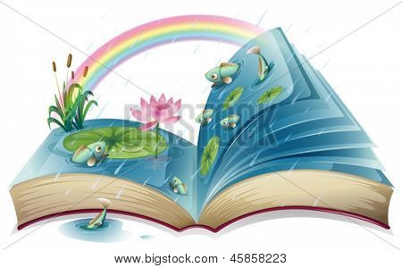 Illustration of a book with an image of a pond on a white background