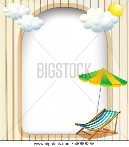 Illustration of an empty entrance template with an umbrella and a foldable bench