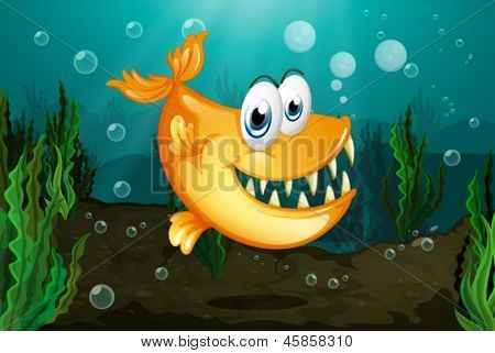 Illustration of a yellow piranha near the seaweeds