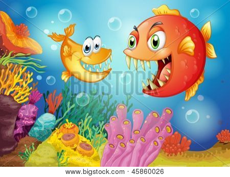 Illustration of the two fishes with big fangs under the sea