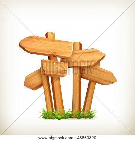 Sinais de madeira, vetor