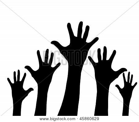 Many hands up over white background