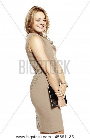 Atractiva mujer de negocios con tableta Digital