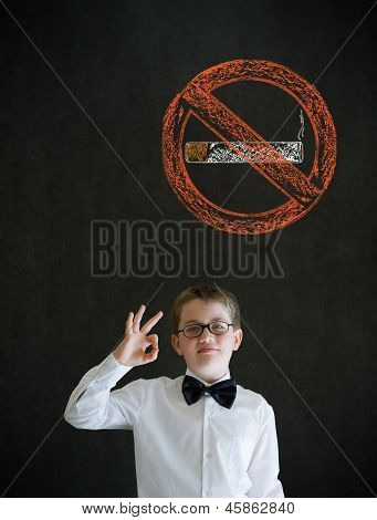 All Ok Boy Business Man With No Smoking Chalk Sign