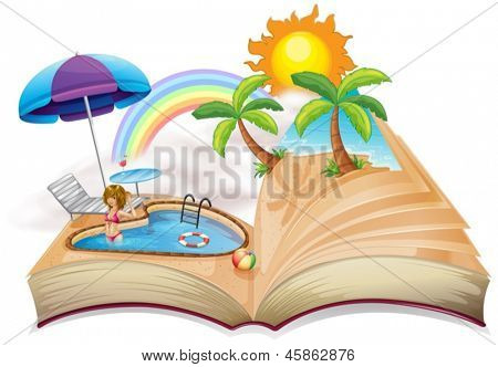 Illustration of a book with an image of a pool on a white background