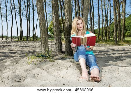 Young Woman Sitting Under Tree Reading Book On Beach