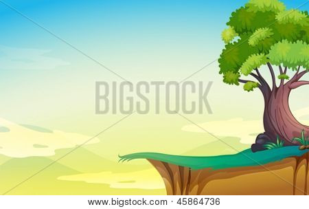 Illustration of a big old tree near the cliff