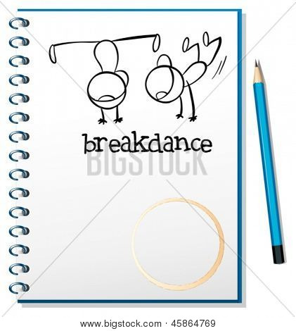 Illustration of a notebook with a drawing of two boys breakdancing on a white background