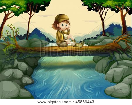 Illustration of a girl sitting at the wood