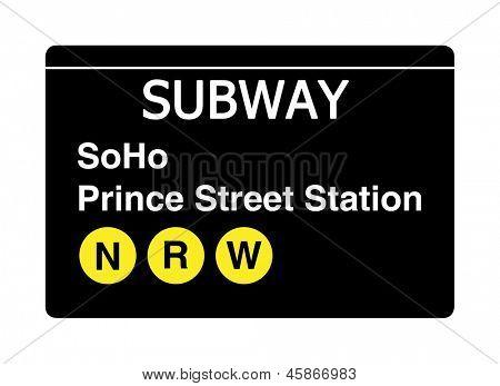 Soho Prince Streert Station subway sign isolated on white, New York city, U.S.A.