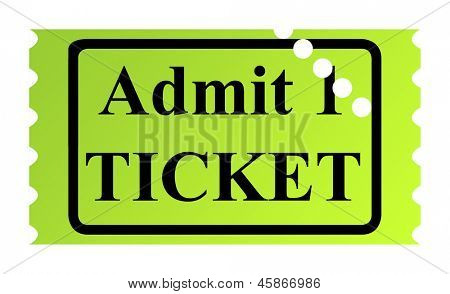 Admit one ticket isolated on white background.