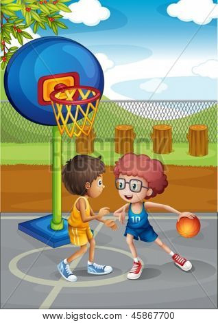 Illustration of the two boys playing basketball at the basketball court