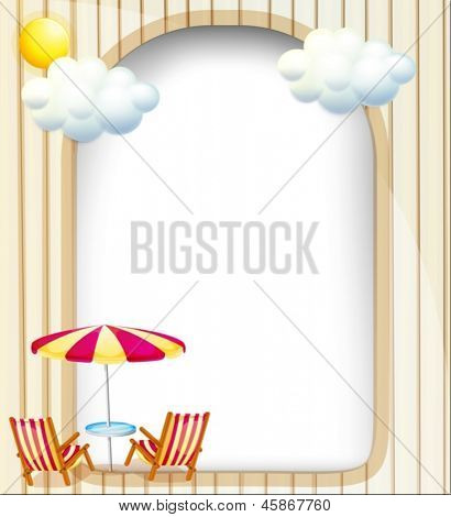 Illustration of an empty surface with beach chairs and umbrella