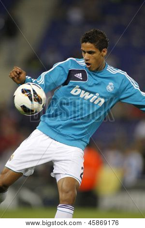 BARCELONA - MAY, 11: Raphael Varane of Real Madrid before the Spanish League match between Espanyol and Real Madrid at the Estadi Cornella on May 11, 2013 in Barcelona, Spain