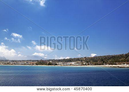 San Vito lo Capo beach view from the port, Sicily.