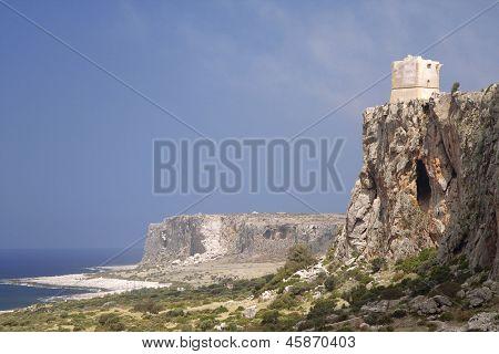 San Vito Lo Capo, Sicily: Saracen tower on the east side coastline cliff