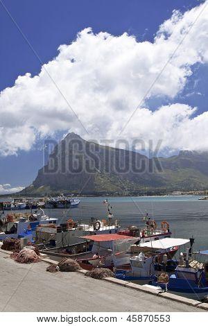 Trawlers moored in San Vito lo Capo port, Sicily