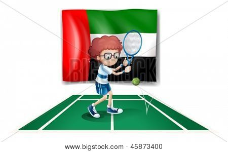 Illustration of the UAE flag at the back of a tennis player on a white background