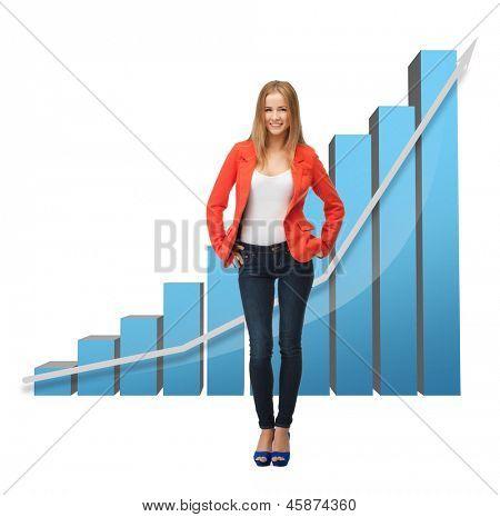 Bild von schönen geschäftsfrau mit großen 3D-Diagramm