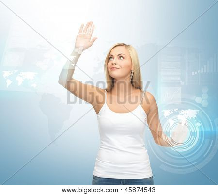 picture of attractive woman working with virtual screen