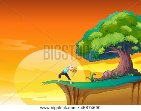 Illustration of a girl exercising at the cliff