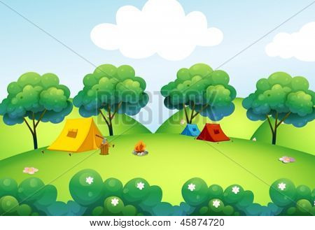 Illustration of the camping tents at the top of the hill