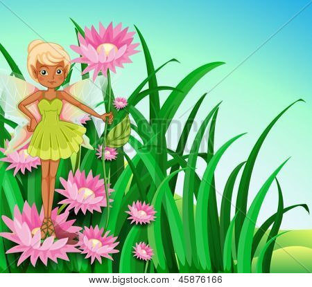 Illustration of a fairy at the garden