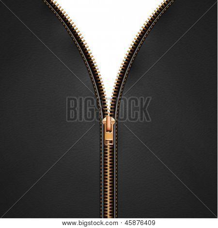 Black leather background with open metallic zipper - eps10