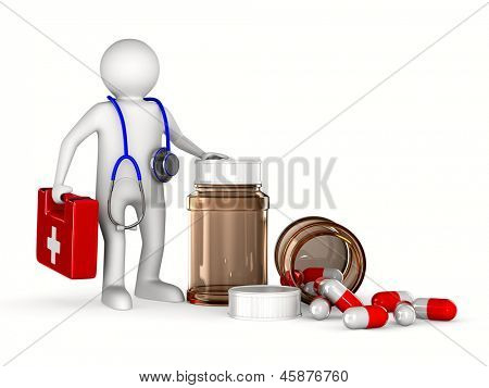 doctor on white background. Isolated 3D image