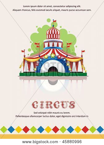 Circus tent frame with space for text. Decoration vector illustration.