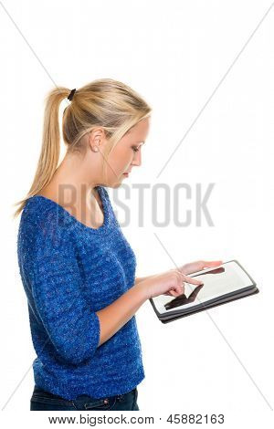 a young woman using her tablet computer against a white background