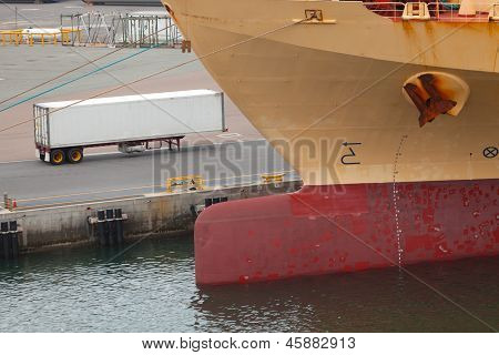 Shipping Container And Keel Of Ship