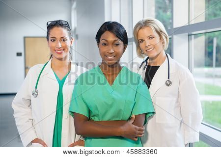 Group Of Female Doctors And Nurses
