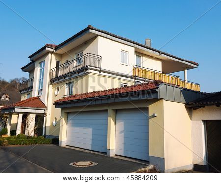 European suburban house with garage