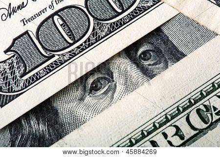 Benjamin looking at you. Closeup on money