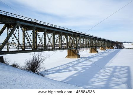 Train Bridge In Winter