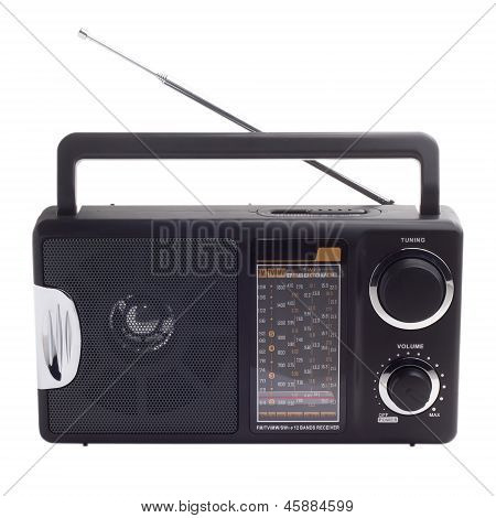vintage black radio listen to isolated station waves