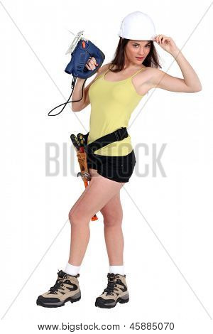 Handywoman in sexy clothing