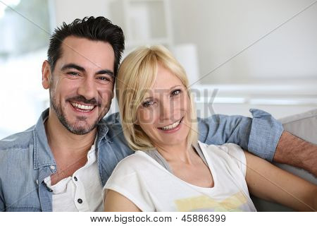 Cheerful couple having fun together