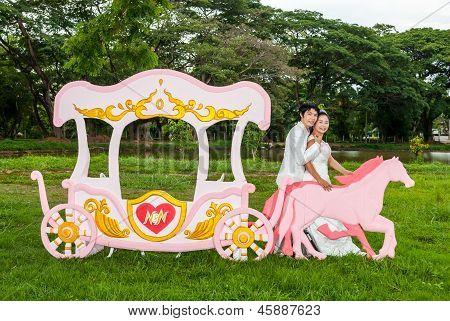 Asian Thai Bridal Beside Love Carriage