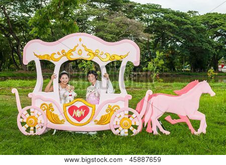 Asian Thai Bridal In Love Carriage