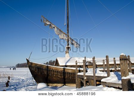 Retro Wooden Ship Frozen Lake Ice Sail People Walk