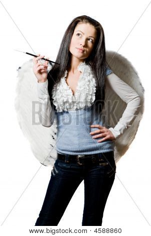 Angel With Cigarette Over White Background