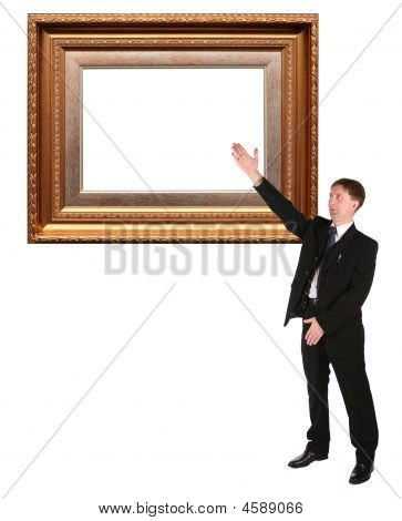 Businessman Shows On Picture Frame Baget Collage
