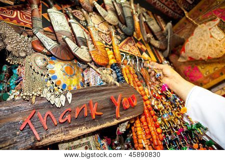 Thank You Written On Board In Souvenir Shop On Market (suk) In Muscat, Oman
