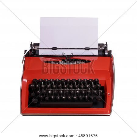 Red Typewriter With White Paper