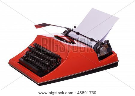 Red Typewriter With Paper