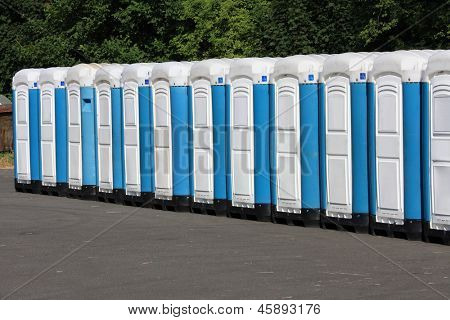 Long row of mobile toilets