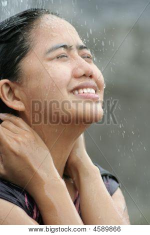 Portrait Of Woman Shower Water Splash Outdoor