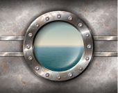 stock photo of old boat  - Old rusty porthole with rivets and seascape outside - JPG